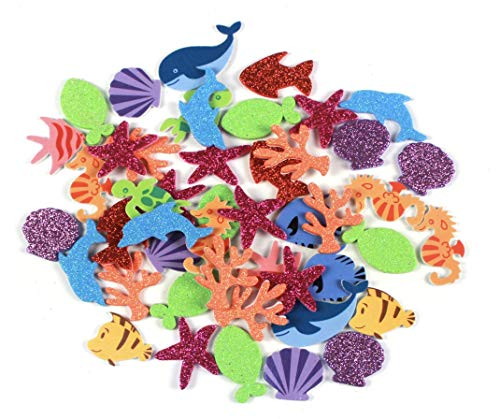 Nikki's Knick Knacks 204 Piece Glitter Under The Sea Foam Stickers- Seahorses, Dolphins, Fish, Shells, Coral, Turtles, and Starfish