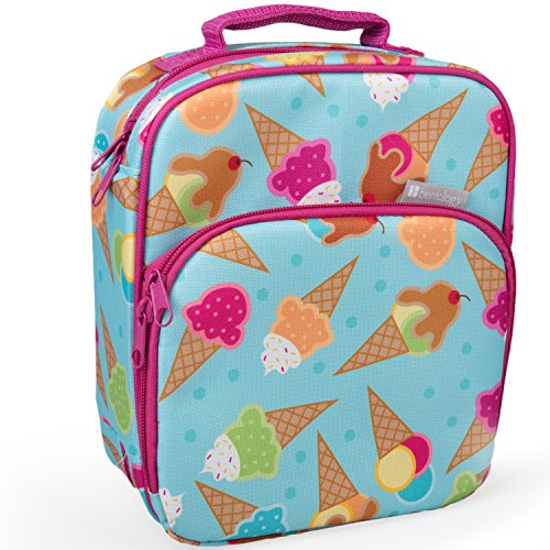 Bentology Lunch Box for Kids - Girls and Boys Insulated Lunchbox Bag Tote - Fits Bento Boxes - Ice Cream