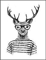【おたくシカ 鹿】 余白部分にオリジナルメッセージお入れします!ポストカード・はがき(白背景)