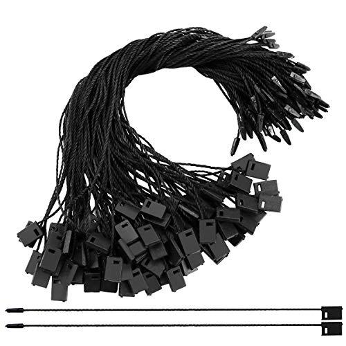 Oopsu 2000Pcs Black Nylon Snap Lock Pin Loop Fastener Hook Ties Hang Tag Fasteners with Plastic Lockers