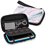 Fintie Carry Case for Nintendo 2DS XL/New 3DS XL LL, Protective Hard Shell Portable Travel Cover Pouch for New 3DS XL LL/New 2DS XL Console with Slots for Games & Inner Pocket (Marble Pink)
