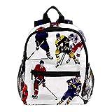 Joueur de Hockey sur Glace W01 Sac à Dos pour Enfant léger Enfant Sac d'école pour Enfants Sac à Dos de Livre décontracté Durable pour Fille et garçon 25.4x10x30cm