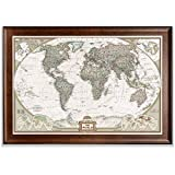 Renditions Gallery Dark Walnut Frame Executive National Geographic World Travel Map with Push Pins, Wall Art for Living Room, Bedroom, Office, 28x40