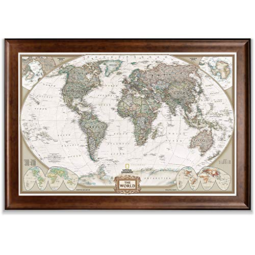 Renditions Gallery Executive National Geographic World Travel Map Framed Wall Art with Push Pin, 30x44, Dark Walnut