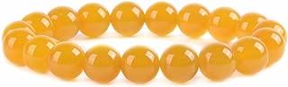 Gem Semi Precious Gemstone 10mm Round Beads Stretch Bracelet 7 Inch Unisex