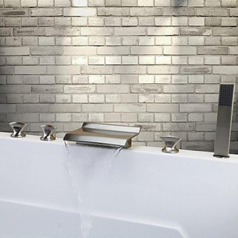 Lozse Badewannenarmaturen - Zeitgenssisch - Wasserfall Handdusche inklusive - Messing (Gebürsteter Nickel)