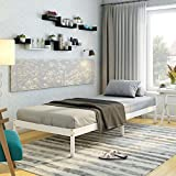 Panana PANNANA Single <span class='highlight'>Bed</span> Solid Wood <span class='highlight'>Bed</span> Frame 3ft For Adults, Kids, Teenagers (White)