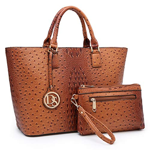 DASEIN Women's Handbags Purses Large Tote Shoulder Bag Top Handle Satchel Bag for Work (6-Ostrich Brown)