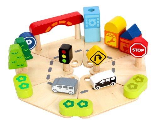 (アイムトイ)I'mTOY 知育玩具 タウン&カントリープレイセット 街づくり [木製 木のおもちゃ 1歳半~] パズ...