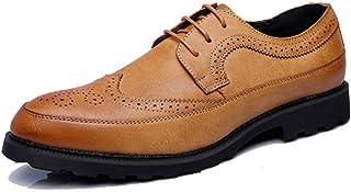 Sygjal Men's Business Oxford Casual Fashion Classic Comfortable Non-slip Carving Brogue Shoes Fashion (Color : Yellow, Size : 43 EU)