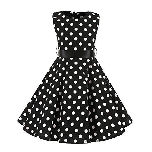 FYMNSI Vestido para niña de los años 50, vintage, rockabilly, de lunares, para noche, cumpleaños, fiesta, estilo años 50 Negro 7-8 Años