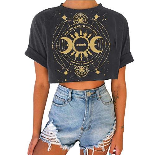 T-Shirt Women's Summer Crop Tops Ramadan Festival Short Sleeve Pullover Tunika Vintage Druck Tee Bluse Casual Crew Neck Blouse Basic Shirts Teenager Mädchen Frauen Hemd Fitness Sport Tops