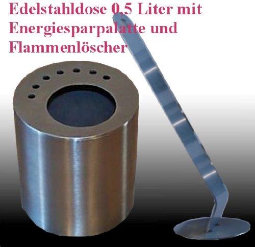 1 boîte en acier inoxydable (0,5 litres, vide) avec extincteur de flammes et de la plaque d'économie