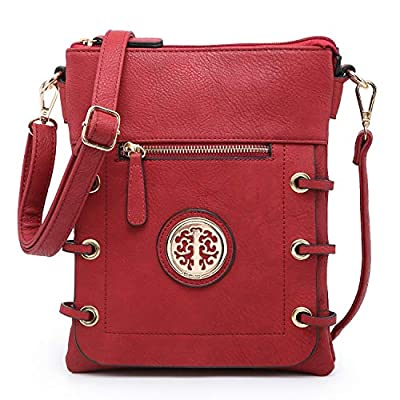 Dasein Women Double Zipper Compartment Crossbody Bag Lightweight Shoulder Purse with Multi Pockets (Red)