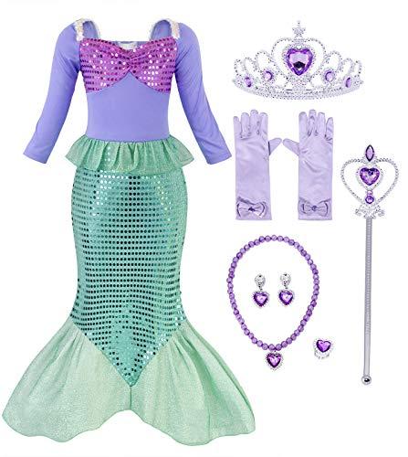 AmzBarley Disfraz Pequeña Sirena Sirenita Ariel Niña Princesa,Sirena Traje Vestido Disfraz Niña Chica Infantil Lentejuelas Brillante Marga Larga Accesorios Halloween Cosplay Ceremonia Carnava