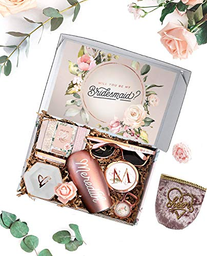 Personalized Bridesmaid Proposal Box/Will You Be My Bridesmaid Box with Bridesmaid gifts, Maid of Honor Gifts, Bridal Shower Favors & Bachelorette Party Favors (Full Set - Blush & Ivory)
