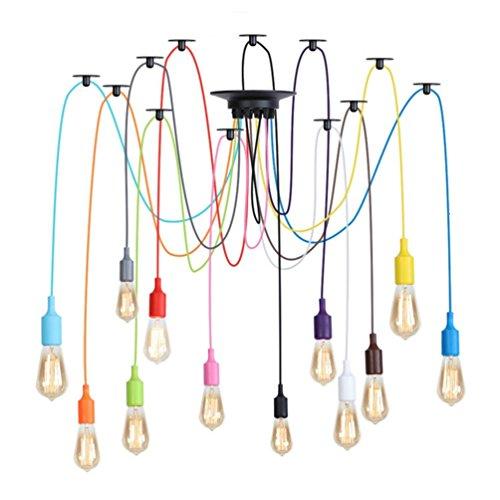 Chandelier Kleurrijke siliconenlamp, creatieve slaapkamer-woonkamer-decoratieve lamp-restaurant-meervoudige koplamp-stang project-kandelaar E27