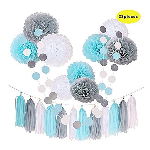 Umiss 23pcs Party Tissue Pom Poms Tissue Flowers Baby Blue White Grey Baby Boy Shower/Party Paper Decorations First Birthday Boy Tissue Flowers Tassel Garland Circle Paper Baby Shower Decorations
