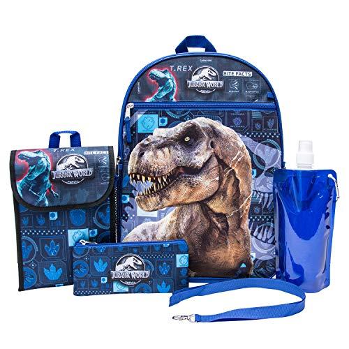 Jurassic World Backpack Combo Set - Jurassic Park Boys' 6 Piece Backpack Set - Jurassic World Backpack & Lunch Kit (Black)