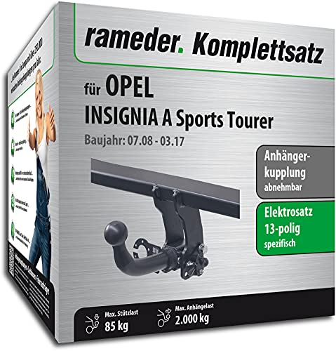 Rameder Set, Anhängerkupplung abnehmbar + 13pol Elektrik kompatibel für OPEL Insignia A Sports Tourer (116971-07861-1)