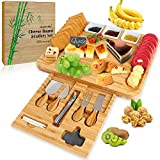 Cheese Board and Knife Set, Angela&Alex Bamboo Charcuterie Platter & Serving Tray Christmas Gifts for Cheese, Wine, Crackers, Brie and Meat Large & Thick Wooden Fancy Christmas Wedding Birthday Gifts