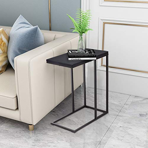 CASART Sofa Side Table, C-Shaped Coffee Snack Table Laptop Stand with Non-Slip Foot Pads, Over Bed End Table for Living Room, Bedroom and Office