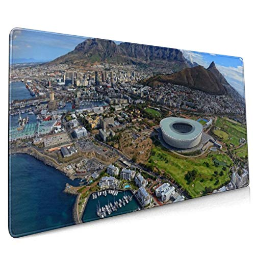 Kaapstad Zuid-Afrika Gebouwen Stadion Bergen Muis Pad Niet Slip Rubber Grote Gaming Toetsenbord Mat 15.8x35.5 In