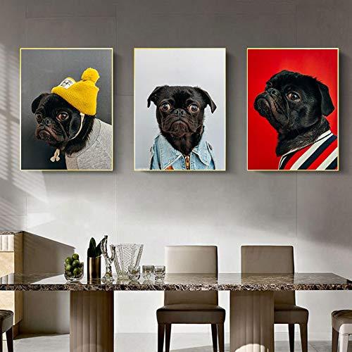 Gymqian Divertido Perro Mascota Animal Lienzo Pintura Arte de la Pared Imagen de Arte Moderno para Sala de Estar habitación de niños decoración del hogar Mural Regalo para niños 45x60x3cm sin Marco