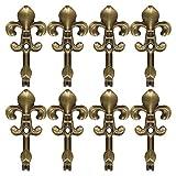 N/A Set mit 8 Raffvorhängen aus Metall Vintage Eichel Vorhang Fahne Fenster Haken, Kleiderbügel aus Stoff, bronzefarben
