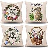 Whaline 4 Stück Ostern Kissenbezug Kaninchen Hasen mit Eiern Kissenbezug, Frühling Baumwolle Baumwolle Leinen Schlafsofa werfen Kissenbezug Dekoration (18'x 18')