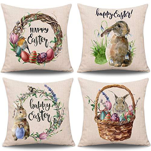 Whaline 4 fundas de almohada de Pascua de conejo con huevos, funda de almohada de lino y algodón para sofá o cama (45,7 x 45,7 cm)