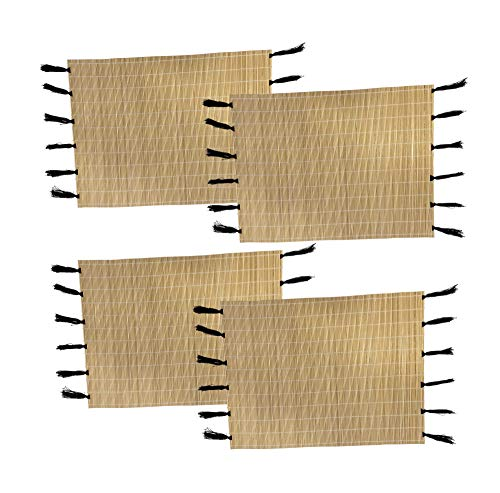 Woodzy Lot de 4 Sets de Table Rectangulaires en Bambou – Marco - Pompons Noirs