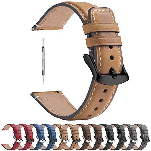 Fullmosa Armband Kompatibel mit Huawei Watch GT 2e Armband/Huawei Watch GT 2 46mm / GT Classic/Sport/Active, 22mm Uhrenarmband Lederarmband, Hellbraun + Rauchgraue Hardware