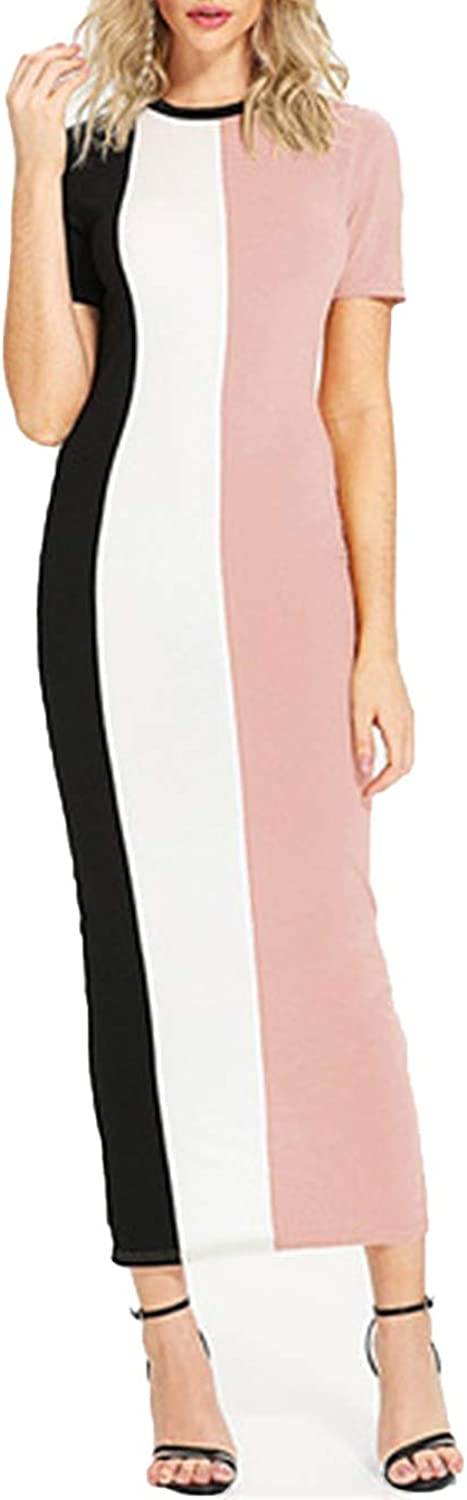 Lost Stars Multicolor Elegant Office Lady colorblock Cut and Sew Slit Back Fitted Skinny Dresses