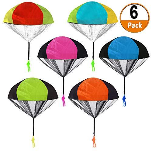 Heqishun 6 Stücke Fallschirmspielzeuge Kinder Hand Werfen Fallschirm Männer Flugspielzeug Set Outdoor Parachute Kinderdrachen Fallschirmspielzeug für Kinder Weihnachten Geschenk