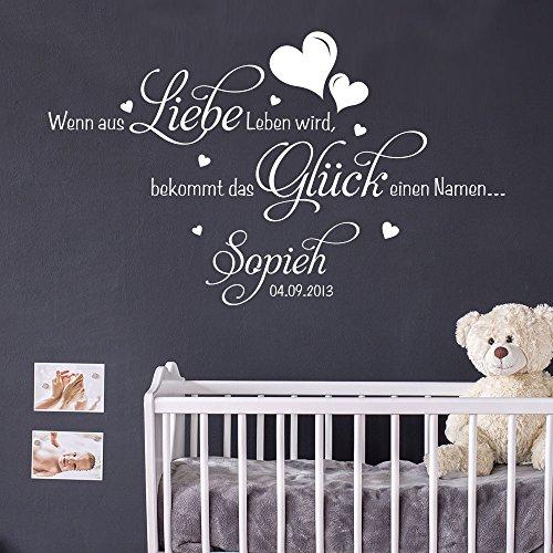 KLEBEHELD® Wandtattoo Wenn aus Liebe Leben wird, bekommt das Glück einen Namen… |mit Wunschname | Farbe schwarz, Größe 60x36cm