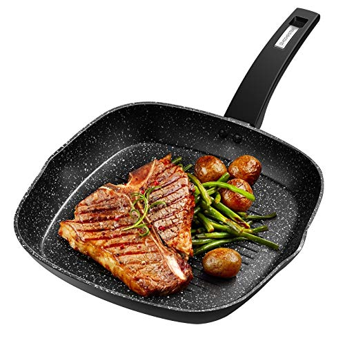 CSK 11  Nonstick Grill Pan with Handle - Square Griddle Pan Skillet for All Stove Tops Include Induction Cooker, Granite Coating, 100% PFOA-Free, Easy to Clean, Deep Grill Frying Pans Indoor Outdoor