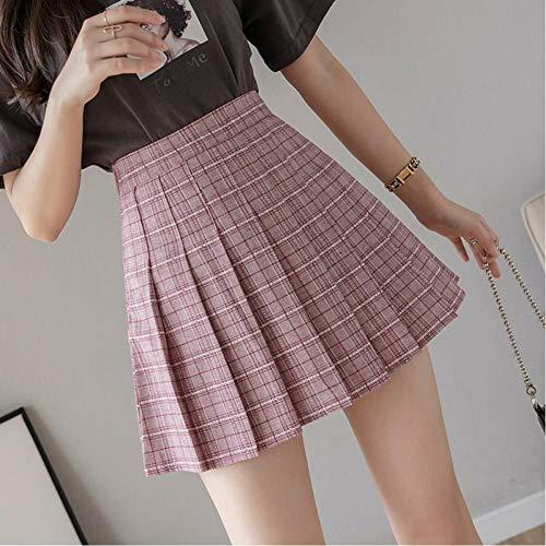 SHDSHD Falda Plisada a Cuadros para Mujer, Minifalda de Cintura Alta, Minifalda de Talla Grande, Uniforme...