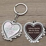Personalized Spinning Quinceañera Keychain Favor (12 PCS) - Engraved Metal Key Ring/Sweet 15/18 Birthday Customized Gift for Guests with Gift Bag