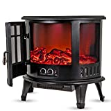 LIVIVO Log Fire Effect Panoramic Heater 1800W Heat Power with Independent LED Lighting and Heating Controls Automatic Overheat or Tip Over Safety Cut-Out