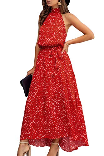 Minipeach Women's Halter Neck Floral Print Polka Dot Solid Color Long Beach Maxi Dress Sundress with Belt (Small, Red Dot)