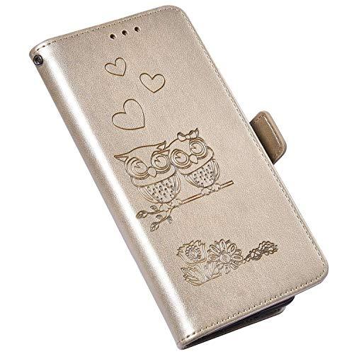 Hülle Kompatibel mit Samsung Galaxy A51 Leder Tasche,Brieftasche Flip Wallet Case Schutzhülle Handyhülle,Blumen Eule Muster Magnet Klapphülle Geldbörse mit Standfunktion für Galaxy A51,Gold