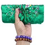 Gold Fortune Travel Jewelry Silk Embroidery Brocade Roll Bags Organizer Case with Tie Close (Dark Green)