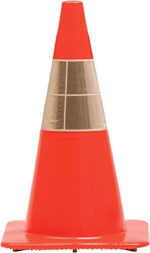 "Work Area Protection 18PVCS Polyvinyl Chloride Standard Traffic Cone with 4"" VSB Reflective Collar, 7-1/4"" Diameter x..."