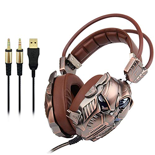 Headmounted Gaming Headset, 3.5channel Subwoofer Gaming Headset vibrazione oro kyman (Color : Gold)