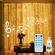 Curtain String Lights, 400 LED 13.1ftX9.8ft USB Powered String Lights, 4 Music Control Modes 8 Lighting Modes Waterproof Decorative Lights for Wedding, Home, Party, Bedroom(Warm Light)