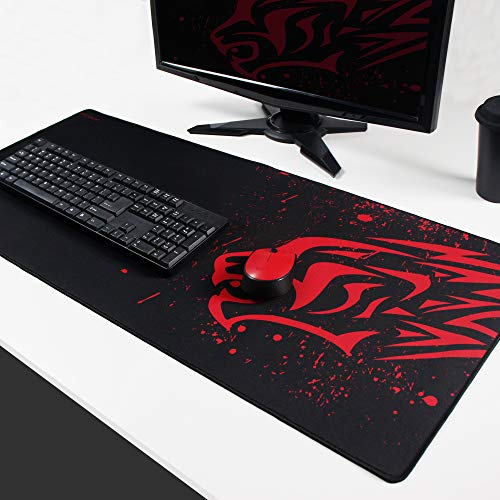 Extended Large Gaming Mouse Pad XXL (35x15 Inch) Thick Non-Slip Rubber Base Mouse pad Mice Smooth Cloth Surface Keyboard Mouse Pads for Computers (Red Leopard XXL)