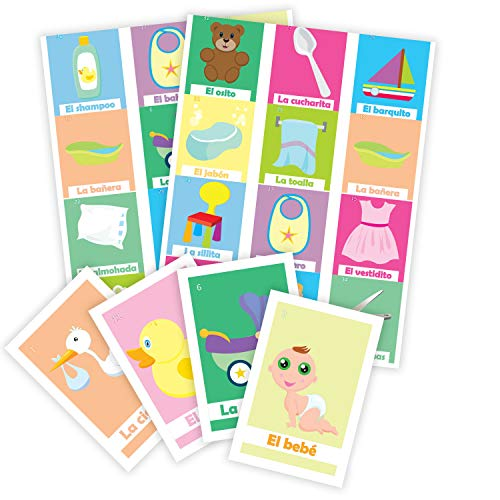 Loteria Baby shower en Español. Deck of cards with 50pc. Bingo Baby Shower game in Spanish for 20 players