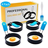 Unique Design: Our egg rings are designed with a big silicone handle to prevent burns, you can bring the egg fryer rings out easily from the pan. The foldable handle is also easy to store. Premium Material: 3-inch circle egg ring is made of BPA-free ...