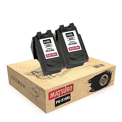 Matsuro Original | Compatible Remanufactured Cartuchos de Tinta Reemplazo para Canon PG-510XL PG-510 (2 Negro)